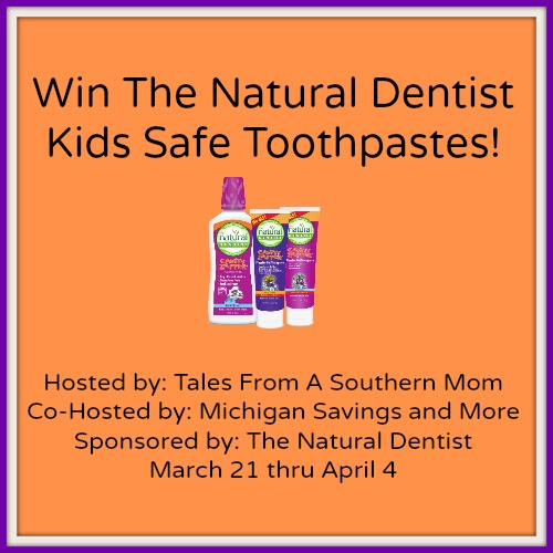 Enter the Natural Dentist Kid's Safe Toothpastes Giveaway. Ends 4/4.
