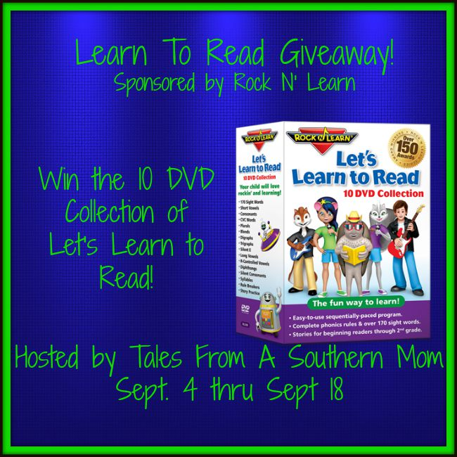 Enter the Learn To Read Giveaway. Ends 9/18