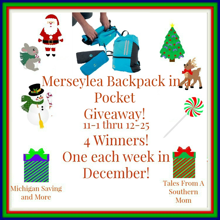 Enter the Merseylea Backpack in a Pocket Giveaway. Ends 12/25