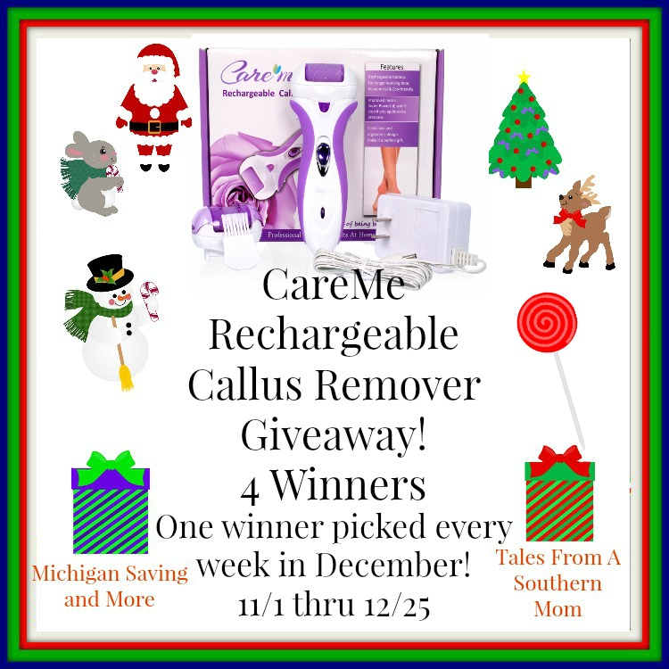 Enter the Care Me Rechargeable Callus Remover Giveaway (Model CM-202). Ends 12/25