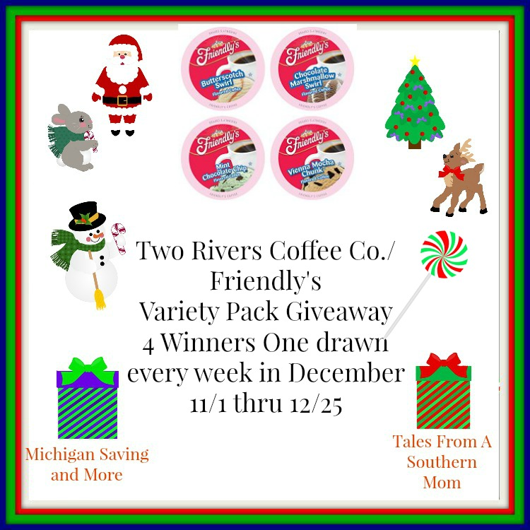 Enter the Two Rivers Coffee Co. Friendly's Variety Pack Giveaway. Ends 12/25