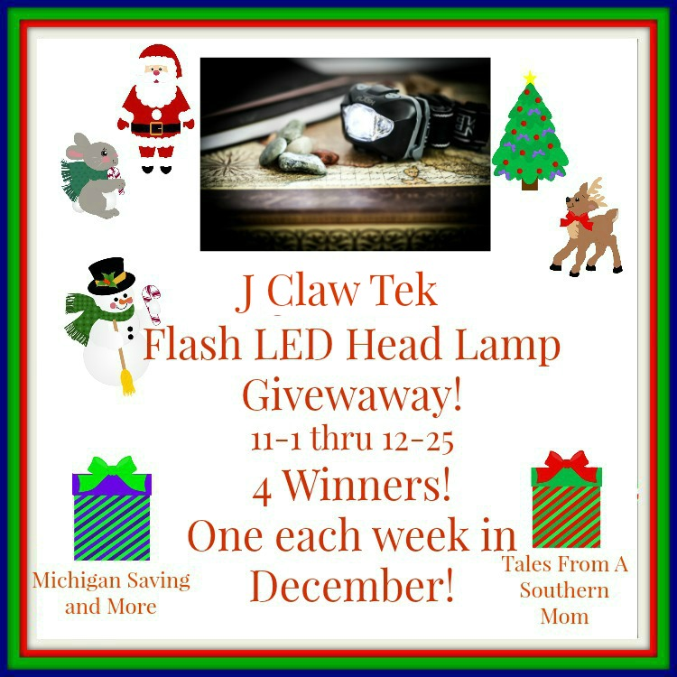Enter the JClaw Tek LED Head Lamp Giveaway. Ends 12/25