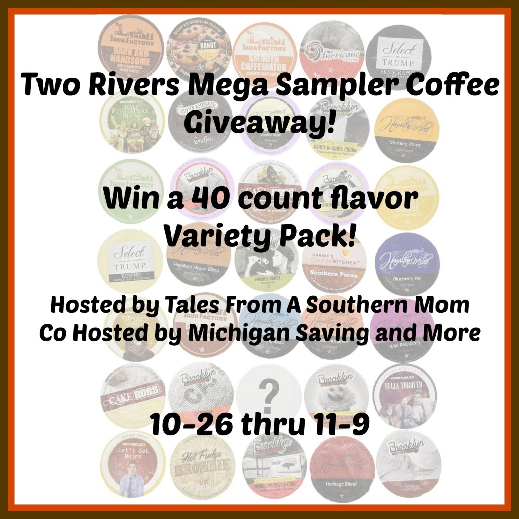 Enter the Two Rivers Mega Sampler Coffee Giveaway. Ends 11/9