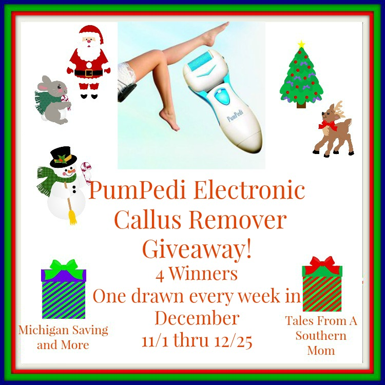Enter the PumPedi Electronic Callus Remover Giveaway. Ends 12/25.
