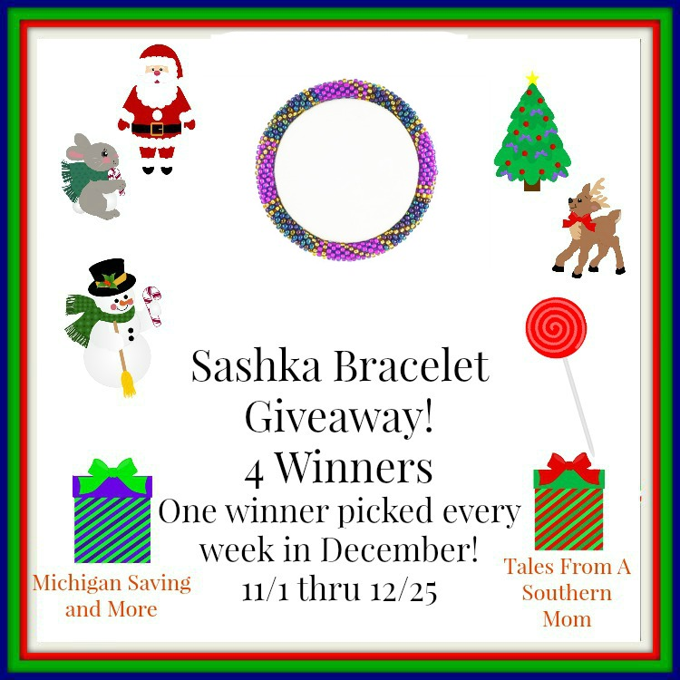 Enter the Sashka Bracelets Giveaway. Ends 12/25