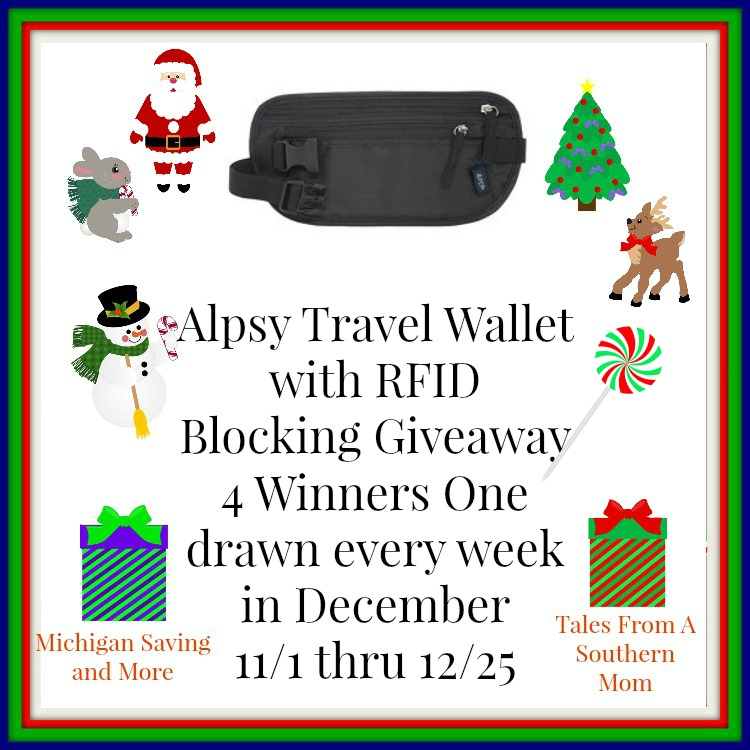 Enter the Alpsy Travel Wallet with RFID Blocking Giveaway. Ends 12/25