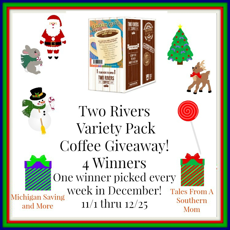 Enter the Two Rivers Variety Pack Coffee Giveaway. Ends 12/25