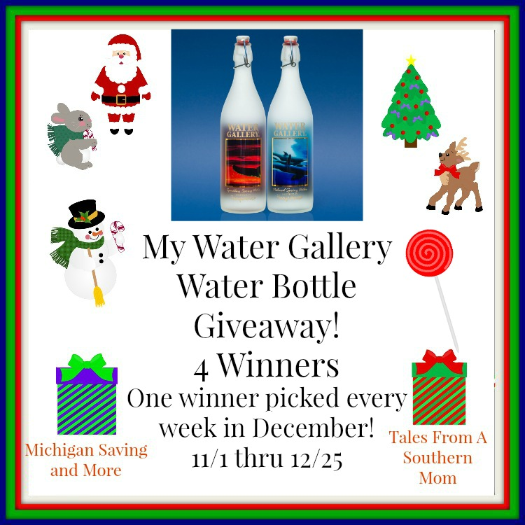 Enter My Water Gallery Water Bottle Giveaway. Ends 12/25