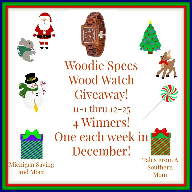 Enter to win the Woodie Specs Wood Watch Giveaway. Ends 12/25.