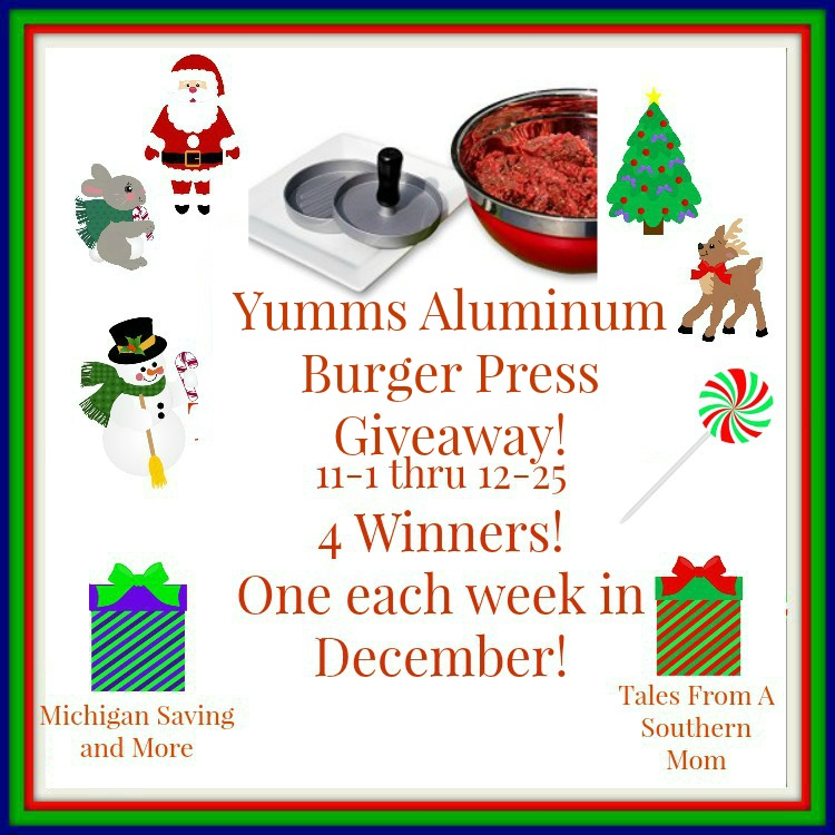 Enter the Yumms! Aluminum Hamburger Press Giveaway. Ends 12/25