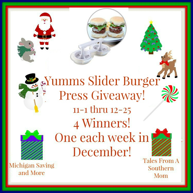 Enter the Yumms Slider Hamburger Press Giveaway. Ends 12/25