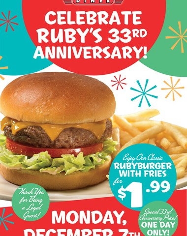 Ruby's Diner Celebrating 33 Yrs with a gift for you!