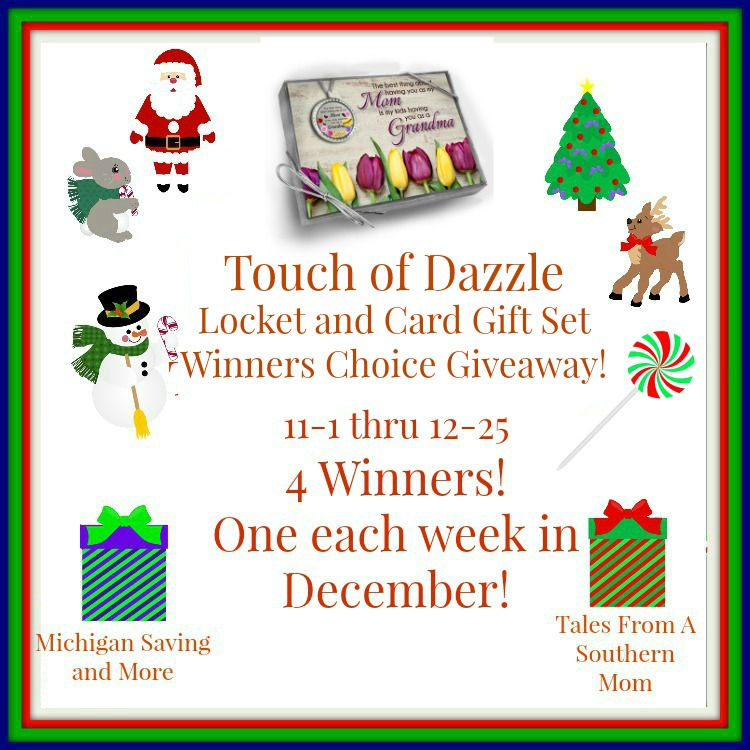 Enter the Touch of Dazzle Locket and Gift Card Set  Winners Choice Giveaway. Ends 12/25