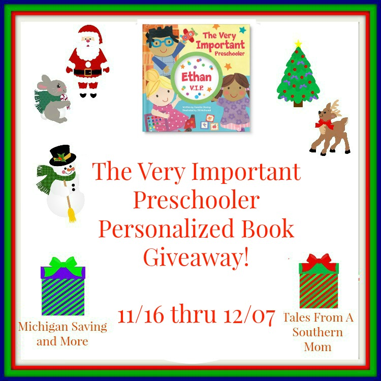 Enter The Very Important Preschooler Personalized Book Giveaway. Ends 12/7