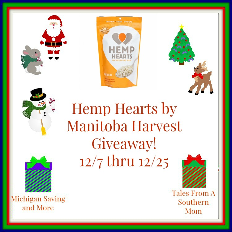 Enter the Hemp Hearts by Manitoba Harvest Giveaway. Ends 12/25