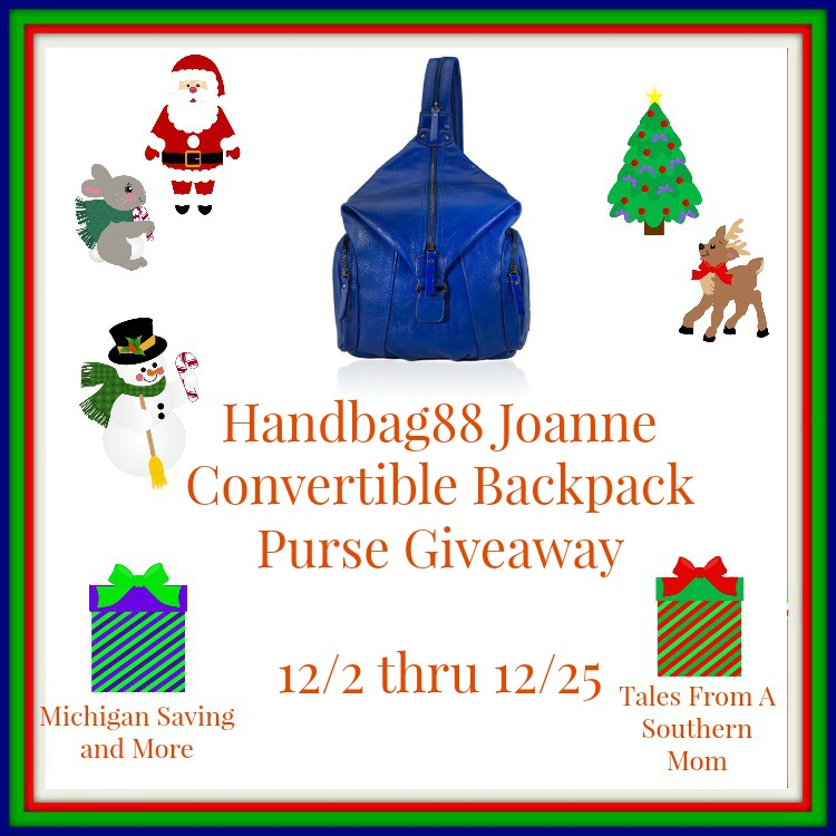 Enter the Handbag88 Joanne Convertible Backpack Purse Giveaway. Ends 12/25